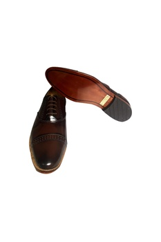 Dark brown leather handcrafted oxford