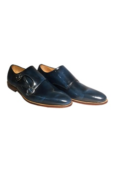 Blue leather handcrafted double monk