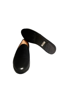 Black handcrafted pure leather loafers