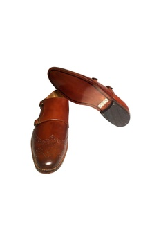 Brown pure leather closed shoes with d-monk straps