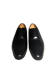 Black pure leather handcrafted brogues