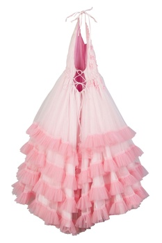 Ombre pink net & butter crepe floral hand embroidered gown
