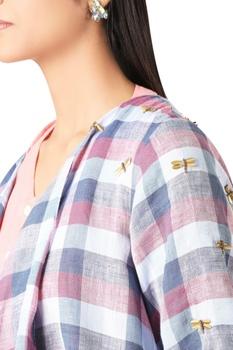 Check printed metal embroidered jacket