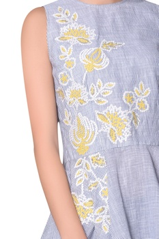 Blue & white stripe cotton embroidered high-low top