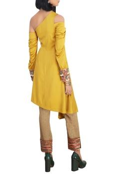 Mustard cold-shoulder satin lycra shirt with raw silk slim pants