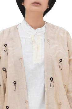 Threadwork embroidered open jacket