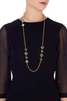 Golden stone embellished opera necklace