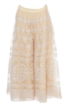 Cream & white chikan embroidered sharara pants