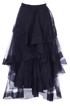 Black organza layered midi skirt