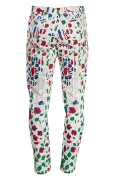 White pants with multi colored floral prints