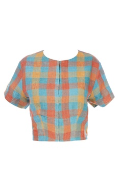 Multi-colored checkered blouse