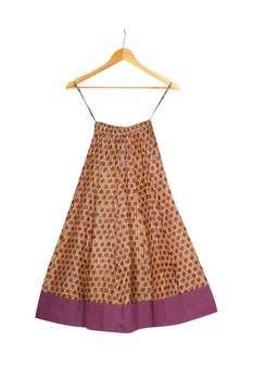 Mustard & purple printed crop top with umbrella skirt