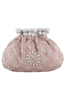 Pink silk mukaish & mirror hand embroidered potli