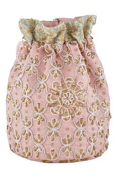 Peach silk mukaish & thread hand embroidered potli