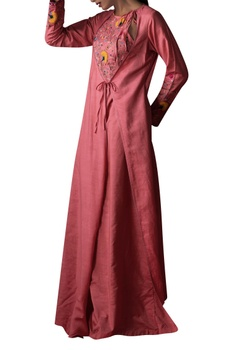 Kashmiri embroidered dress with attached jacket