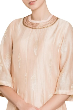 Asymmetric kurta with embroidered neckline