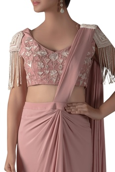 Tassel Blouse With Pre Pleated Saree