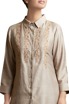 Floral Dori Embroidered Shirt Top