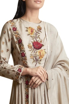 Embroidered Anarkali Kurta and Palazzo Set