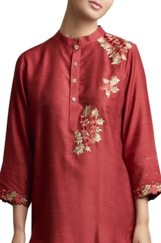 Embroidered Tunic with Floral Motifs