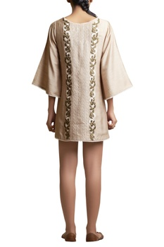 Tunic Dress with Cut Work and Floral Embroidery