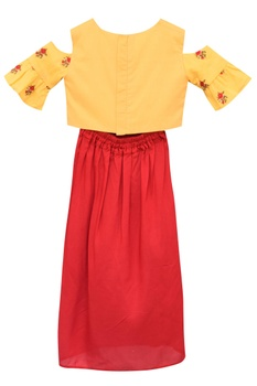 Embroidered top with draped skirt