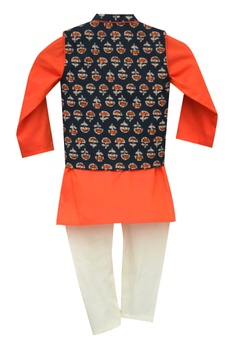 Printed nehru jacket with kurta & churidar