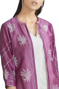 Chanderi silk front open anarkali jacket