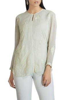 Georgette banana leaf embroidered blouse