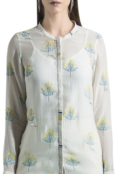 Chanderi floral-leaf & animal printed motifs blouse