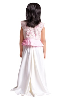 Embroidered peplum top with palazzo pants.