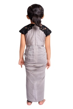 Grey embroidered draped dress with churidar.