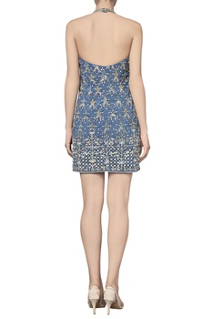 Halter net dress with sequin & dori embroidery