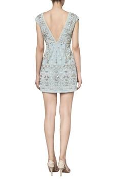 Net hand embroidered deep v-neckline cocktail dress