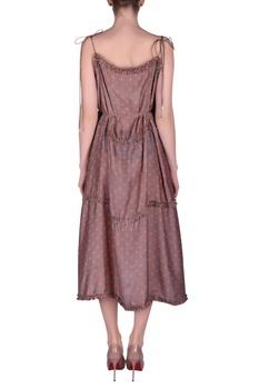 Polka dotted printed spaghetti dress