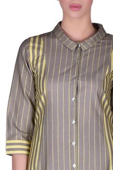 Pinstriped high-low shirt dress