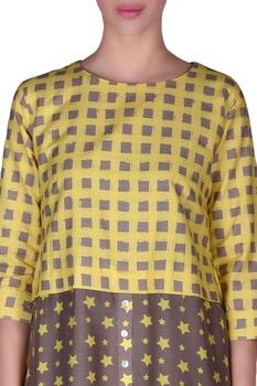 Check & star dual printed tunic