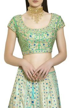 Gota & thread embroidered lehenga set.