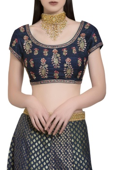 Chanderi brocade & zardozi embroidered lehenga set