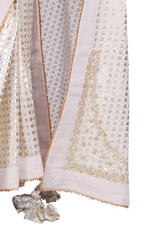 Crepe silk floral saree with embroidered blouse