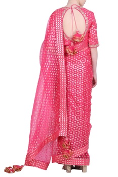 Crepe & organza floral printed saree with foil blouse
