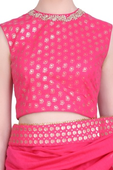 Foil printed border saree with embroidered blouse