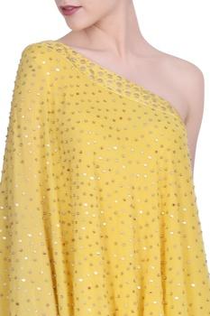 Crepe one-shoulder blouse with lehenga
