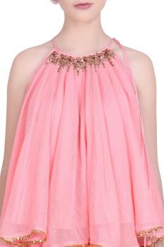 Kota doria halter blouse with gota lace skirt