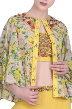 Crepe silk jaal printed & embroidered jacket set