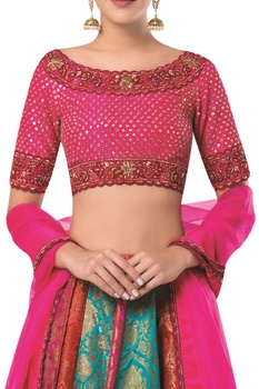 Embroidered lehenga with blouse and organza dupatta