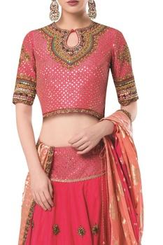 Embroidered lehenga with blouse and banarasi dupatta