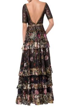 Peplum style blouse with frilly layered lehenga