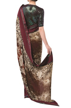 Printed sari with embellished blouse