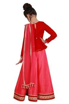 Embroidered peplum blouse with lehenga and dupatta